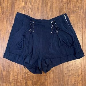 Dance and marvel navy high waisted grommet shorts